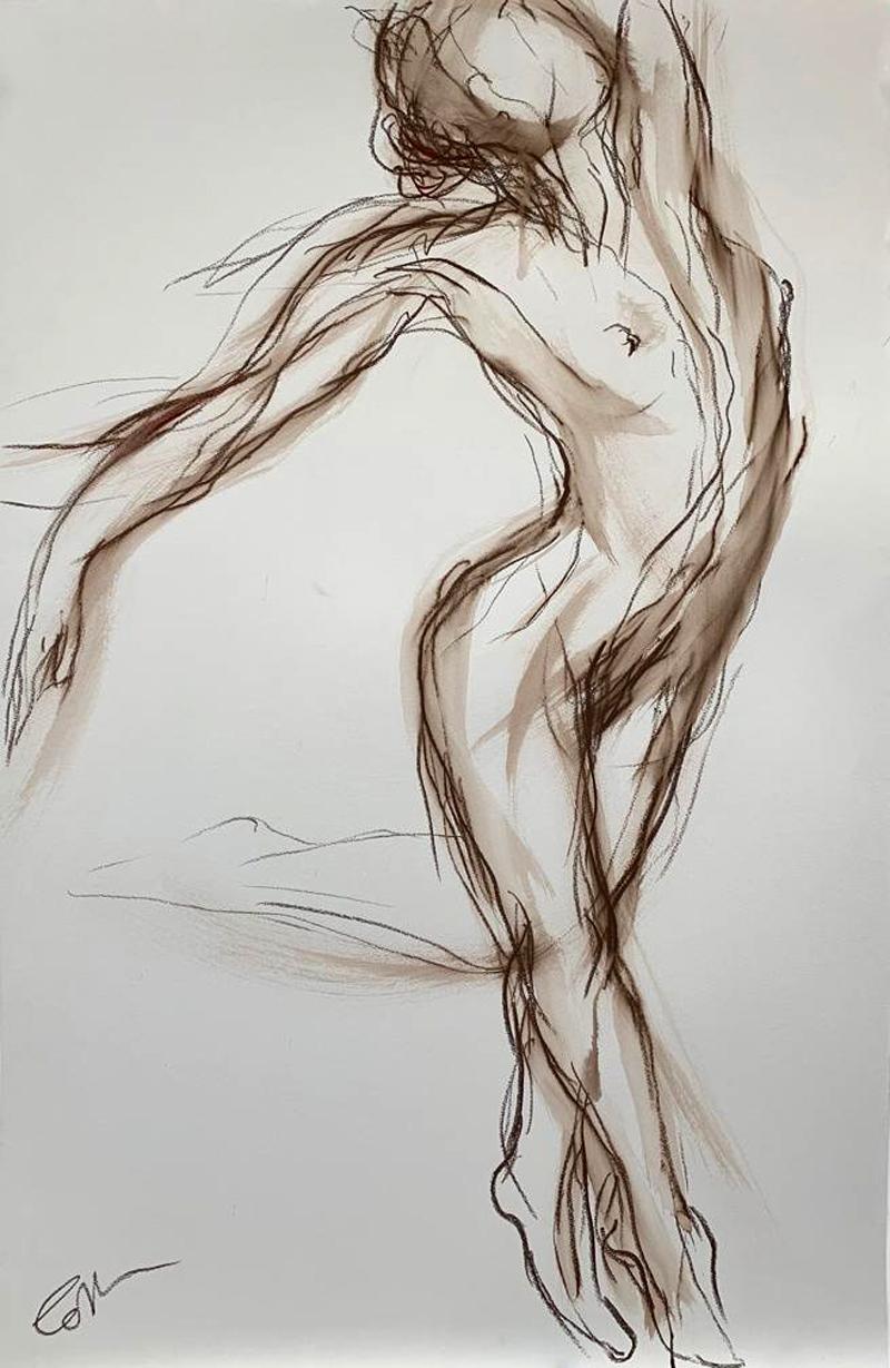 VC Art En Pointe Dance Drawing in Mixed Media on Paper